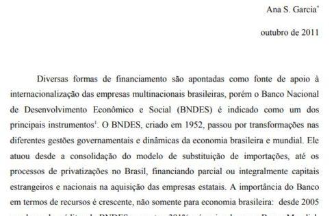 BNDES e a Expansão Internacional de Empresas com sede no Brasil – Ana S. Garcia