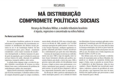 Má Distribuição Compromete Políticas Sociais – Caros Amigos – Maria Lucia Fattorelli