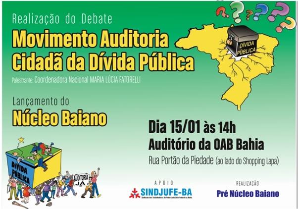 Convite para o lançamento do Núcleo Bahia da Auditoria Cidadã da Dívida