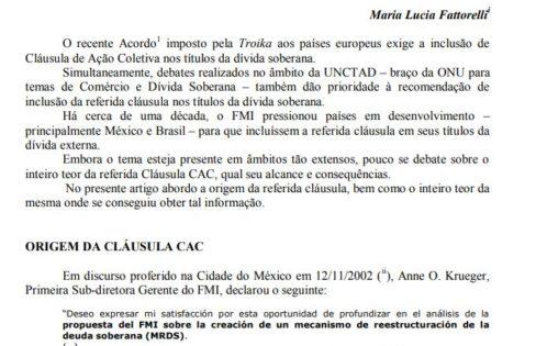 Mais poder para os bancos com a clausula CAC – Maria Lucia Fattorelli