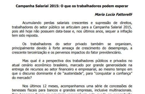 Campanha Salarial 2015: O que os trabalhadores podem esperar – Maria Lucia Fattorelli