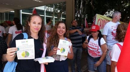 Integrantes do Núcleo DF participam do ato de lançamento da campanha salarial unificada dos servidores públicos federais no Ministério do Planejamento.