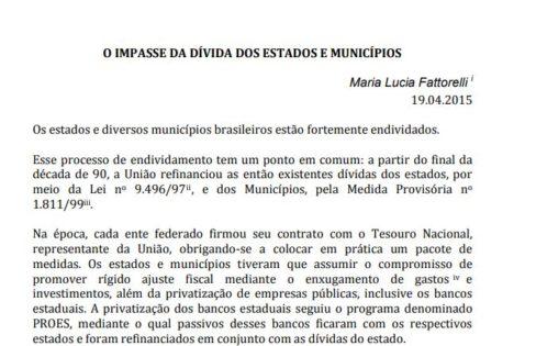 O Impasse da Dívida de Estados e Municípios – Maria Lucia Fattorelli