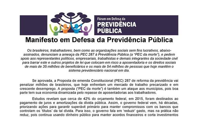 Lançado Fórum em Defesa da Previdência em Ponta Grossa (PR)