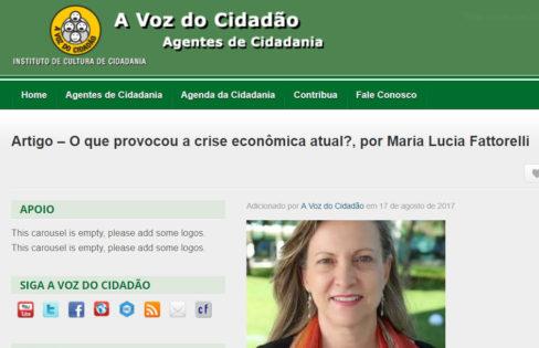 """A voz do cidadão: """"O que provocou a crise econômica atual?"""", por Maria Lucia Fattorelli"""