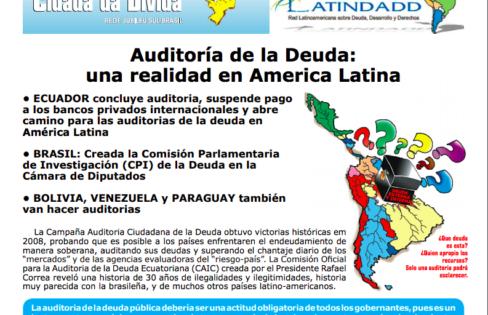 """Informativo """"Auditoria de la Deuda – Una Realidad en América Latina"""" –Novembro/2008"""