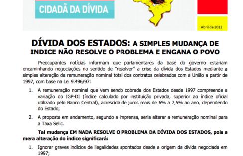 INFORMATIVO SOBRE A DÍVIDA DOS ESTADOS – I – 10/4/2012