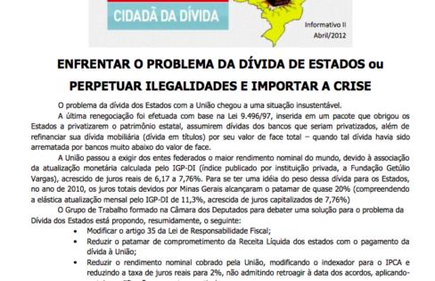 INFORMATIVO SOBRE A DÍVIDA DOS ESTADOS – II – 19/4/2012