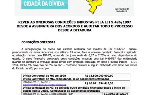 INFORMATIVO SOBRE A DÍVIDA DOS ESTADOS – III – 30/5/2012