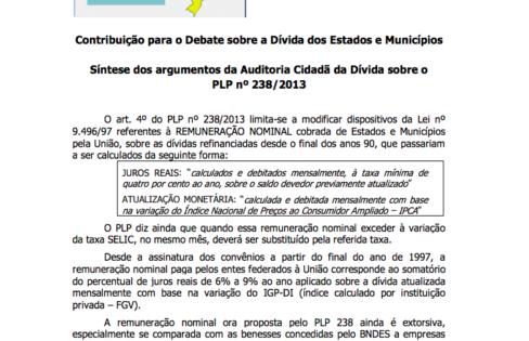 CONTRIBUIÇÃO PARA O DEBATE SOBRE A DÍVIDA DOS ESTADOS E MUNICÍPIOS – 25/3/2013