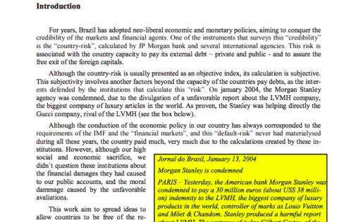 Estudo sobre o Risco Brasil (versão em inglês) – 2004