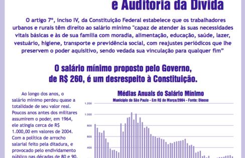 Salário Mínimo e Auditoria da Dívida – 2004