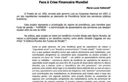 """Informativo """"RISCOS DO PL-1992"""", contra a privatização da Previdência dos Servidores Públicos – Julho/2011"""