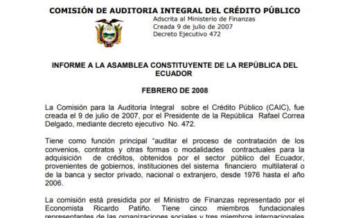DOCUMENTOS OFICIAIS DA CAIC – COMISSÃO PARA A AUDITORIA INTEGRAL DA DÍVIDA EQUATORIANA