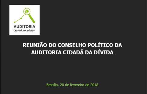 """Palestra """"Análise de Conjuntura"""" – Maria Lucia Fattorelli – Reunião do Conselho Político da Auditoria Cidadã da Dívida – Brasília"""