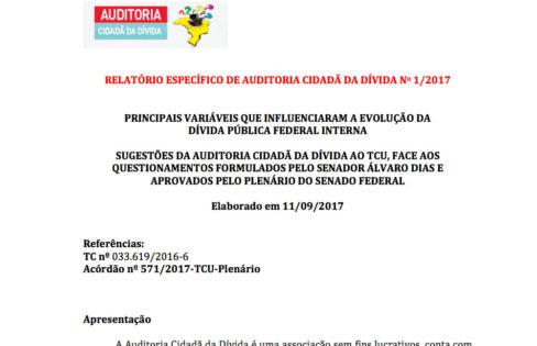RELATÓRIO ESPECÍFICO DE AUDITORIA CIDADÃ DA DÍVIDA No 1/2017
