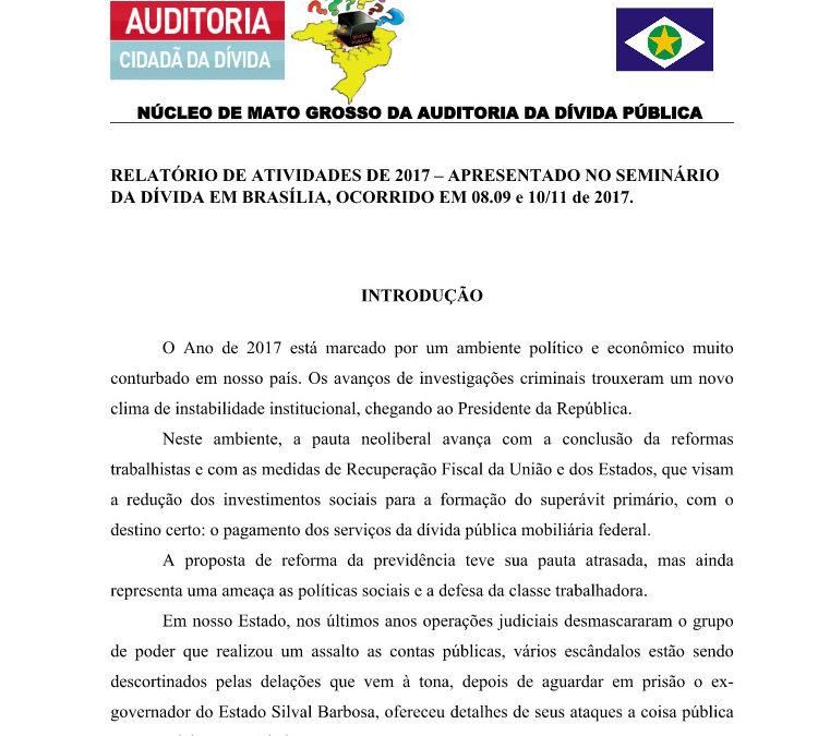Relatório de atividades de 2017 – apresentado no seminário da dívida em Brasília, ocorrido em 08.09 e 10/11 de 2017