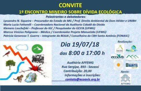 """""""1ºEncontroMineiro sobre Dívida Ecológica"""" ocorrerá em Belo Horizonte, no dia 19 de julho de 2018."""