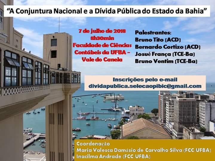 """Palestra: """"A conjuntura nacional e a dívida pública do estado da Bahia"""""""