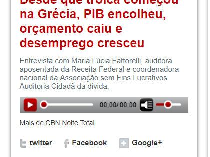 """Rádio CBN: """"Desde que troica começou na Grécia, PIB encolheu, orçamento caiu e desemprego cresceu"""" – com Maria Lucia Fattorelli"""