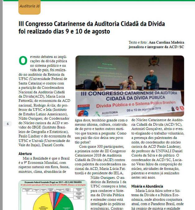 Informativo traz síntese do III Congresso Catarinense da Auditoria Cidadã da Dívida