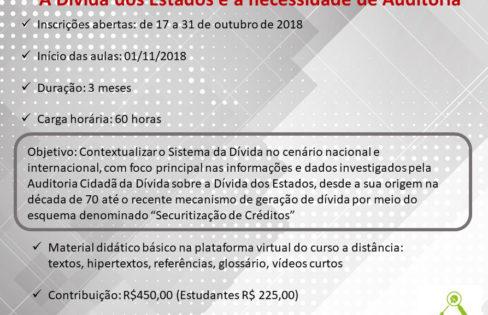 Auditoria Cidadã da Dívida promove curso a distância