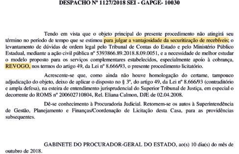 Interrompida a implantação do esquema de Securitização de Créditos em Goiás