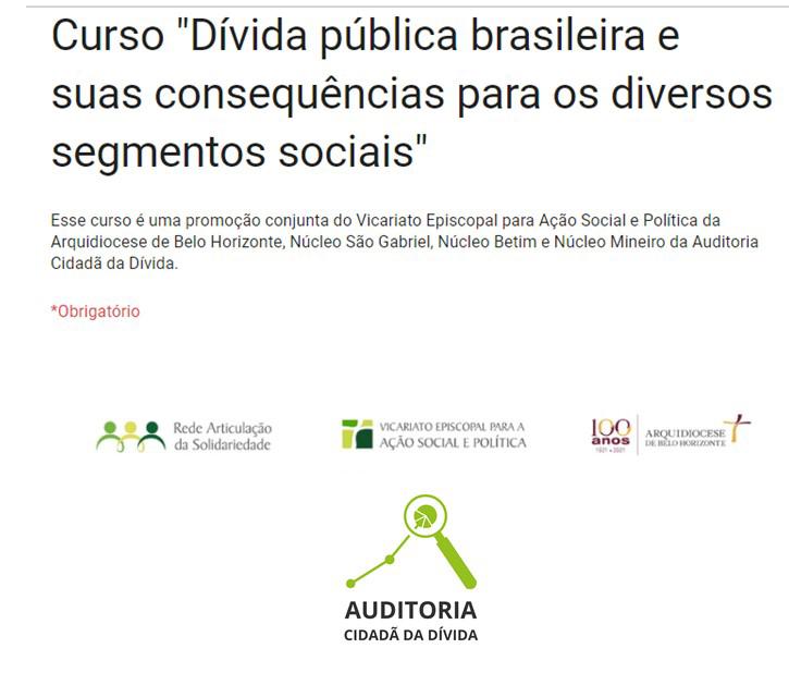 """Núcleo mineiro promove o curso """"Dívida pública brasileira e suas consequências para os diversos segmentos sociais"""""""