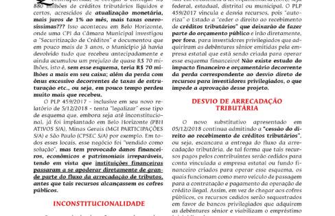 """SUBSTITUTIVO E NOVO RELATÓRIO DO PLP 459/2017 NÃO CORRIGEM INCONSTITUCIONALIDADES E LESÃO AOS COFRES PÚBLICOS PROVOCADOS PELA """"SECURITIZAÇÃO DE CRÉDITOS"""""""
