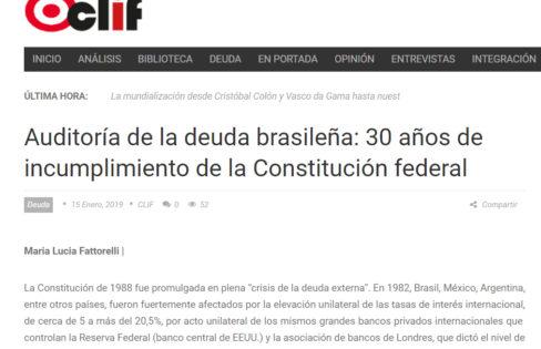 """Artigo: """"Auditoría de la deuda brasileña: 30 años de incumplimiento de la Constitución federal"""""""