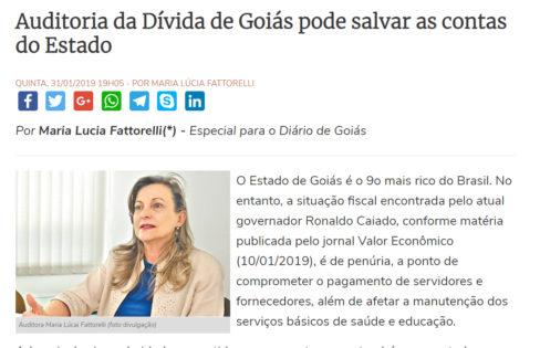 """Diário de Goiás: """"Auditoria da Dívida de Goiás pode salvar as contas do Estado"""""""