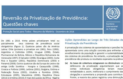 Estudo da Organização Internacional do Trabalho: Reversão da privatização de previdência – questões chaves
