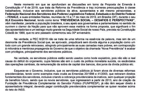 """Fenale divulga Carta de Brasília – """"Não a Reforma da Previdência proposta pelo governo"""""""
