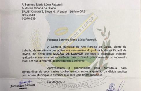 Câmara de Alto Paraíso concede moção de louvor à Maria Lucia Fattorelli
