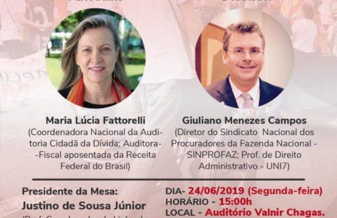 "Palestra: ""Reforma da Previdência"", M. L. Fattorelli – FACED/UFC/PPGE com apoio do SINPROFAZ – Fortaleza/CE"