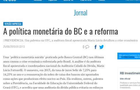 """Jornal O Povo: """"A política monetária do BC e a reforma"""""""