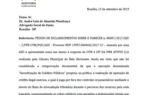PEDIDO DE ESCLARECIMENTOS SOBRE O PARECER DA AGU – PBH ATIVOS S/A