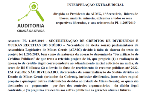 ACD entrega Interpelação Extrajudicial na Assembleia de Minas: CONTRA A SECURITIZAÇÃO DE CRÉDITOS DAS RECEITAS DO NIÓBIO!
