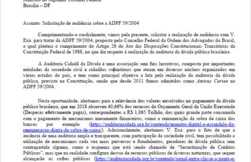 Auditoria Cidadã protocola pedido de audiência com ministro do STF para pedir cumprimento da ADCT 26