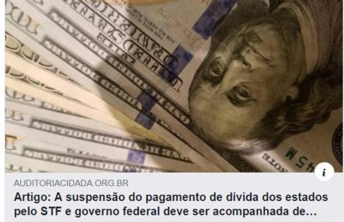"""Revista Fórum: Auditoria Cidadã da Dívida defende suspensão do pagamento dos juros para """"socorrer a calamidade do coronavírus"""""""