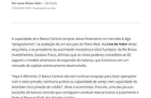 Não é trabalho do BC comprar crédito privado, diz Gustavo Franco