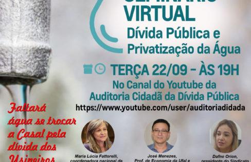 Dívida Pública e privatização da Água – SEMINÁRIO VIRTUAL