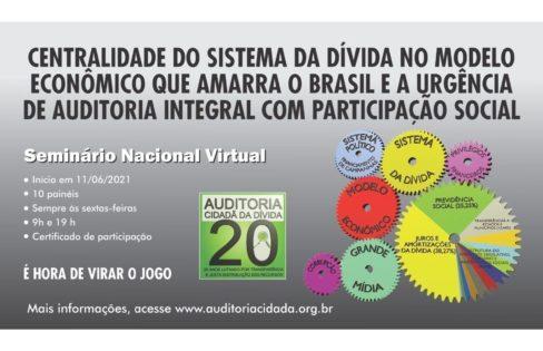 """SEMINÁRIO NACIONAL VIRTUAL """"Centralidade do Sistema da Dívida no modelo econômico que amarra o Brasil e a urgência da auditoria integral com participação social"""""""