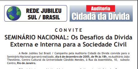 SEMINÁRIO NACIONAL: Os Desafios da Dívida Externa e Interna para a sociedade civil
