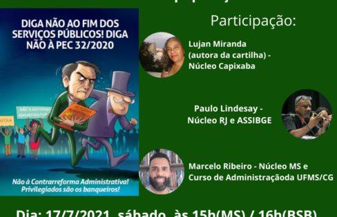 Apresentação da Cartilha com debate sobre a Reforma Administrativa e outras medidas que assaltam o Estado e a população brasileira